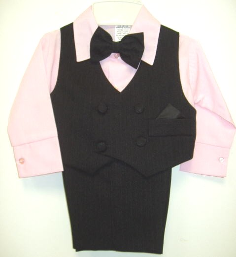 Baby Boy Black Pinstripe Vest Suits