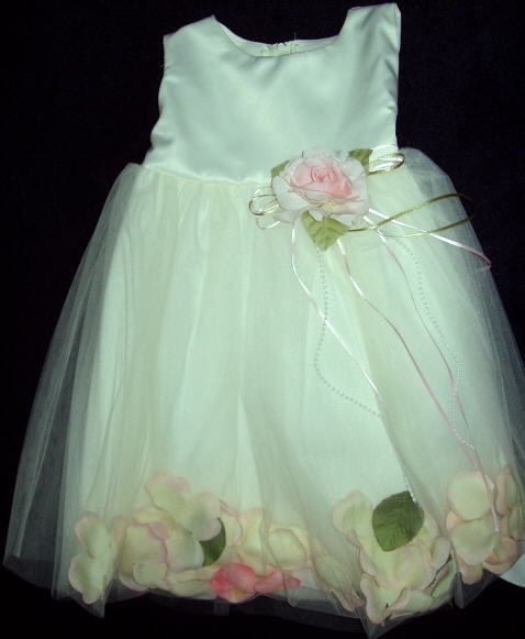 Ivory Satin Flower Girl Dress