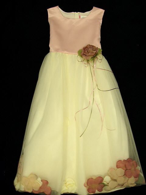 Rose Satin Flower Girl Dress