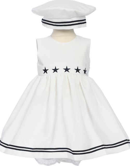 Girls White Nautical Dress