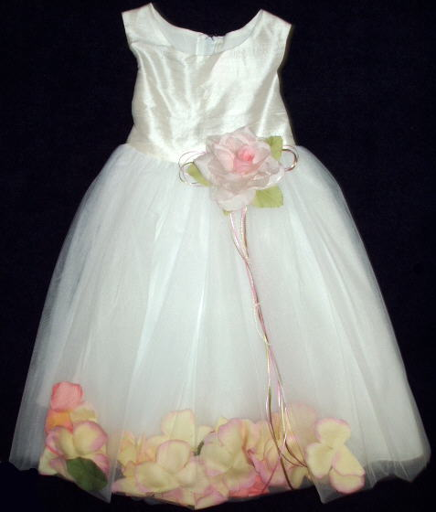 White Silk Flower Girl Dress