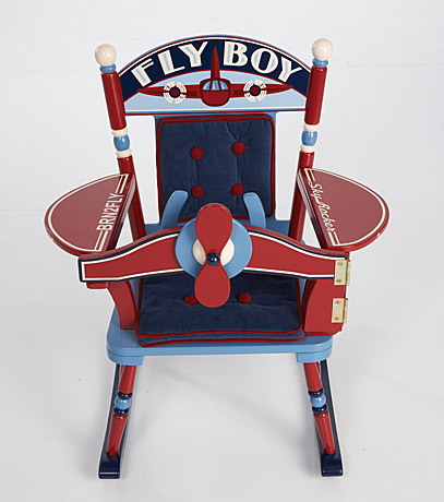 Retro Red White And Shades Of Blue Vintage Airplane Seat Back Design Comfy Padded Cushions Special Message Fly Boy Armrest Wings