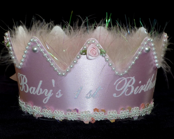 All Pink First Birthday Crown