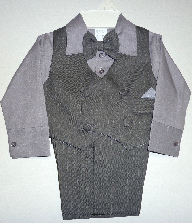 Baby and Infant Grey Pinstripe Vest Suit