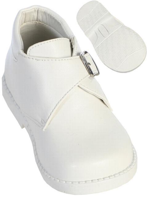 Baby Boys White Dress Shoes with Buckle