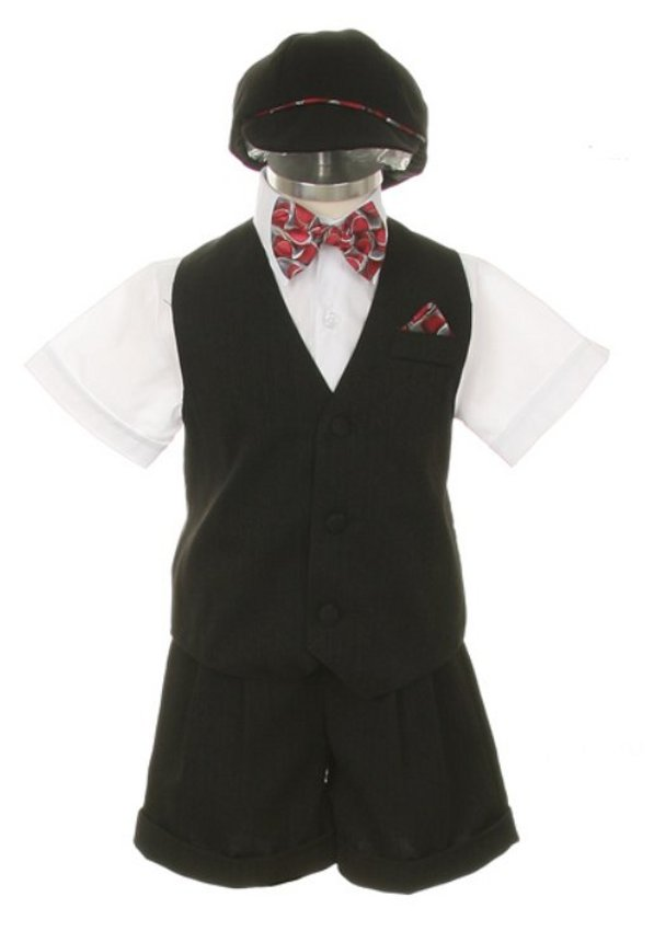 Boys Fancy Black and White Short Suit
