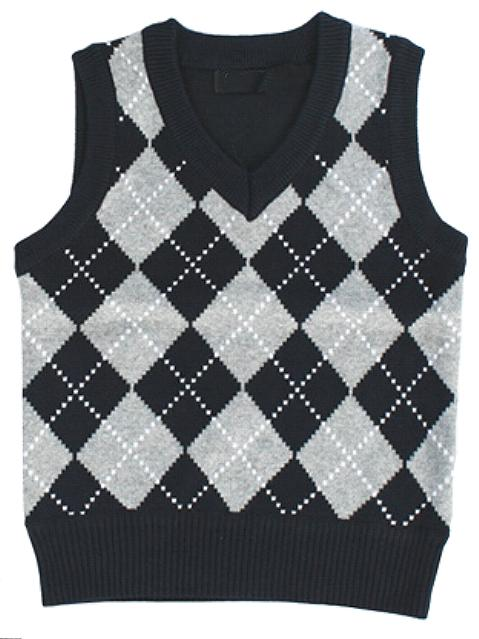 Boys Black Diamond Sweater Vest