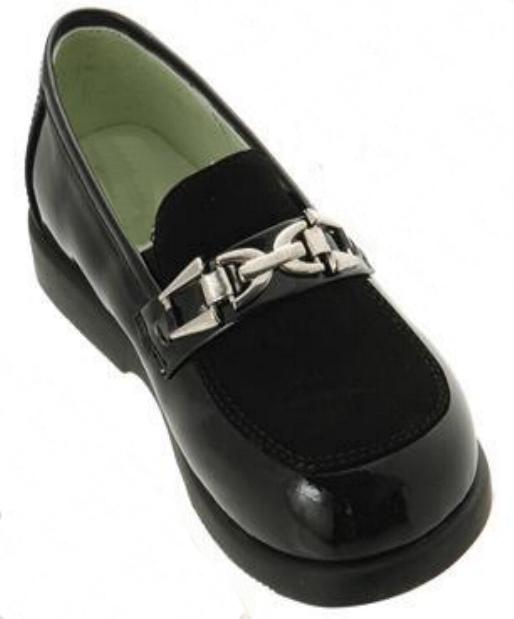 Boys Black Buckle Dress Shoes