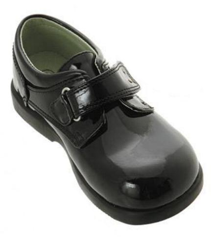 Boys Black Velcro Dress Shoes