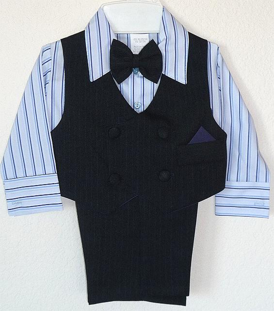 Baby and Infant Blue Striped Vest Suit