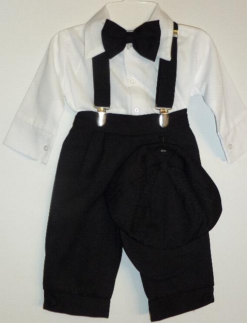 Baby and Infant Boys Black and White Knicker Suit