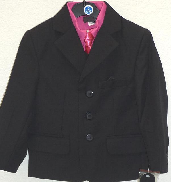 Toddler Boys Black and Fuschia Suit
