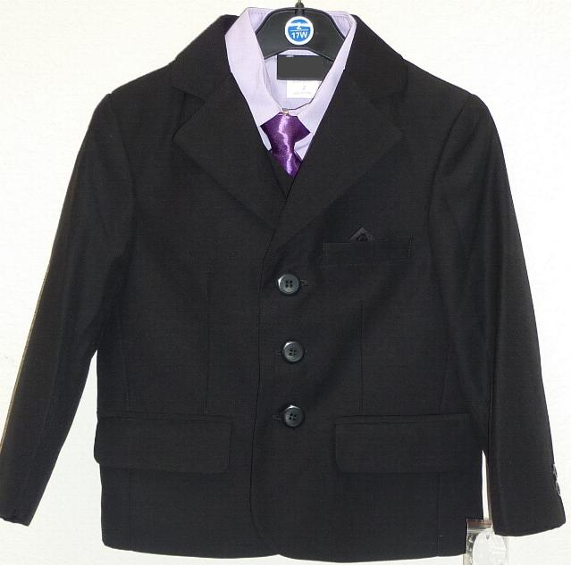 Toddler Boys Black and Lavender Suit