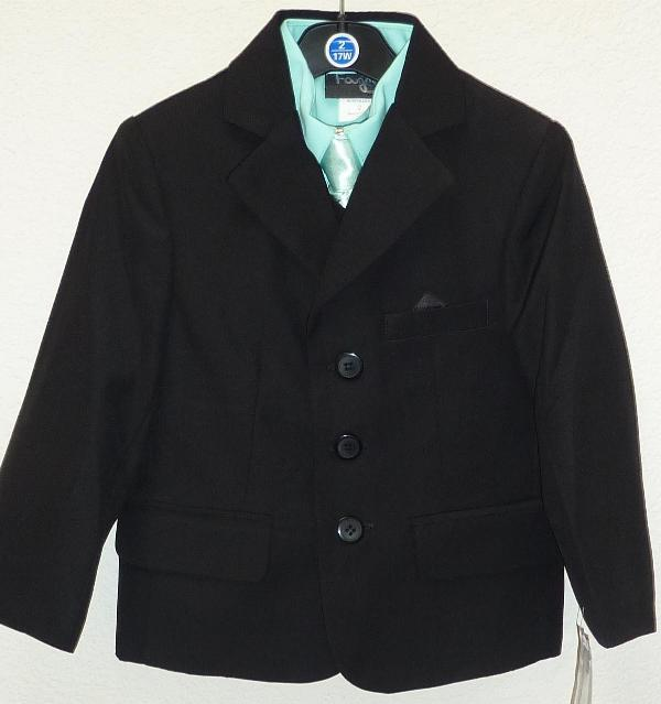Toddler Boys Black and Teal Suit