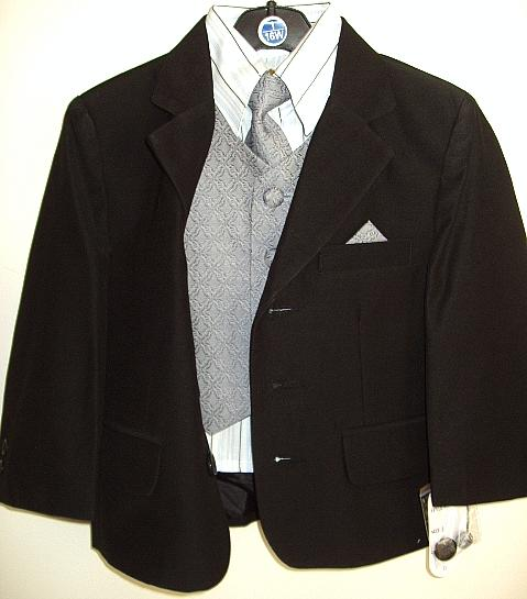 Toddler Boys Black Suit with Silver Vest