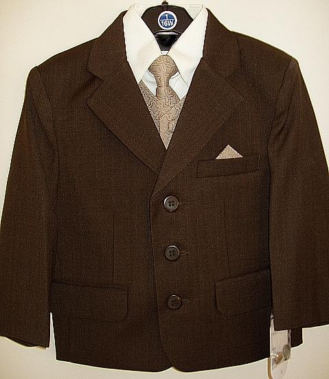 Toddler Boys Brown Suit with Brown Vest