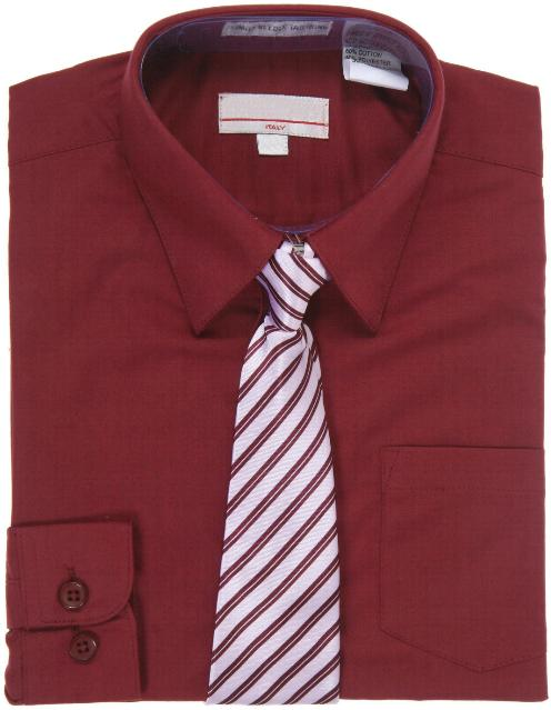 Boys Burgundy Dress Shirt