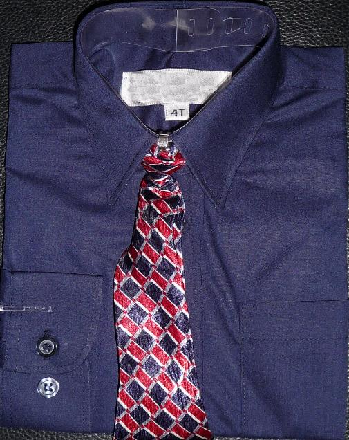 Boys Navy Blue Dress Shirt