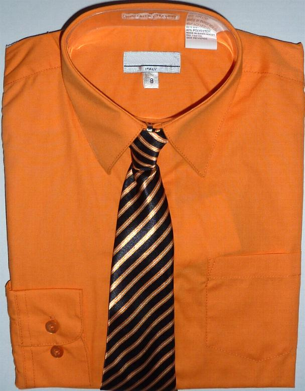 Boys Orange Dress Shirt