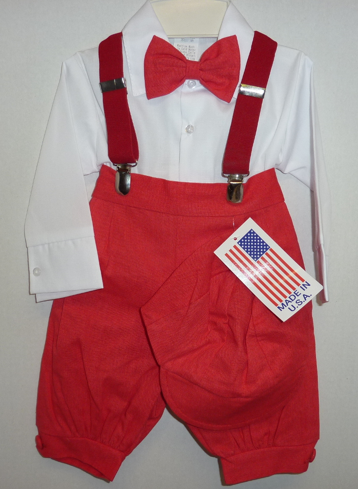 Baby Boys Red Knicker Suit