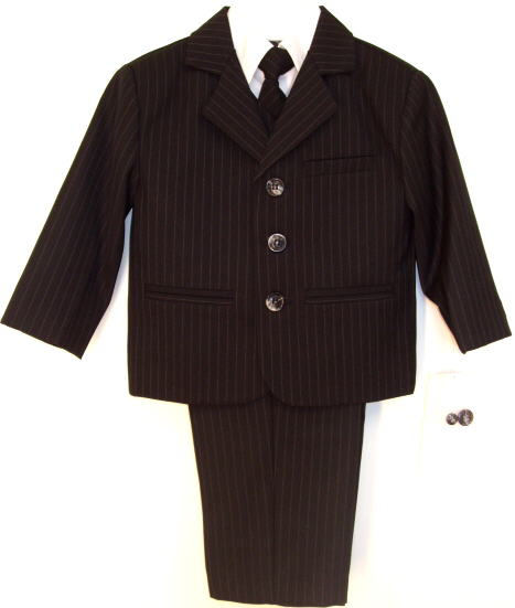 Toddler Boy Black Pinstripe Suit