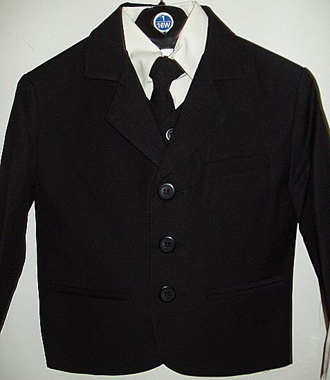 Boys Black Suit with Off White Shirt