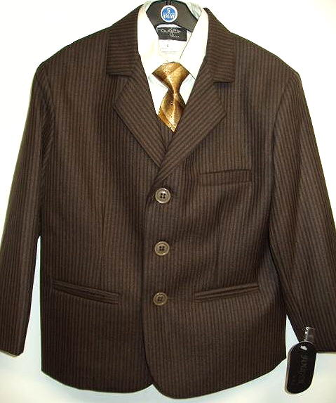 Young Mens Brown Striped Suit