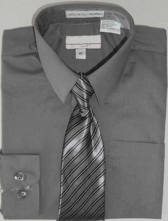 Boys Dark Gray Dress Shirt