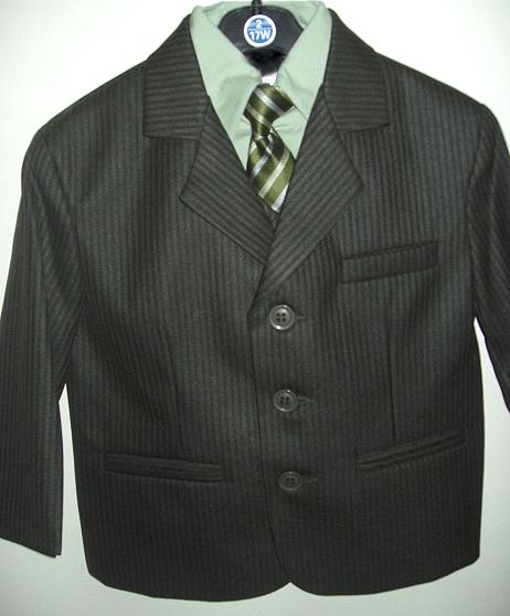 Young Mens Sage Striped Suit
