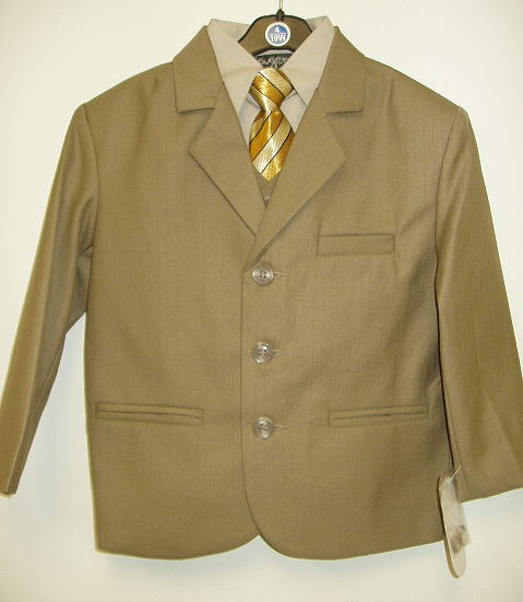 Toddler Boy Tan Suit with Tan Shirt