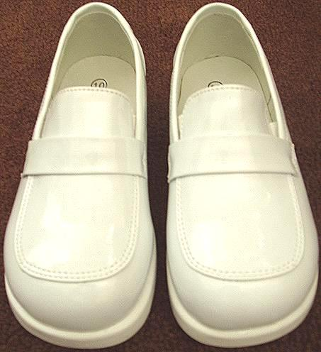 Boys Slip On White Dress Shoes