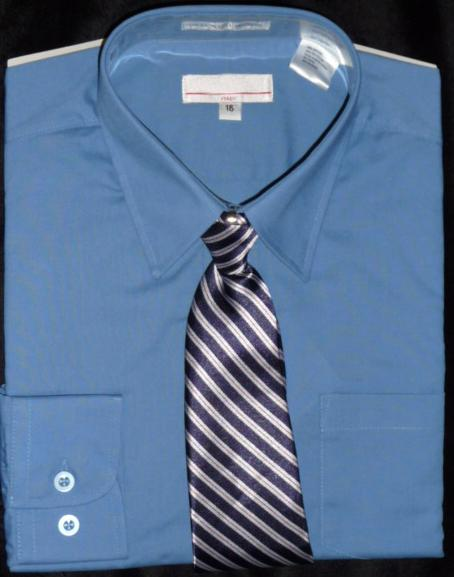 Boys Dark Blue Dress Shirt