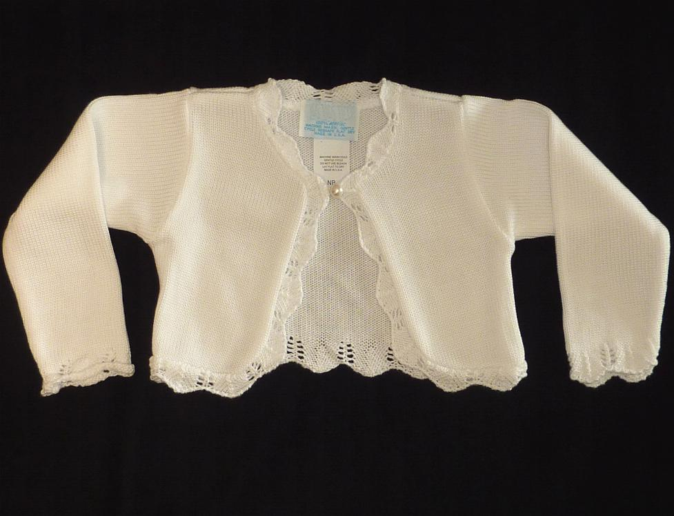 Girls White Bolero Sweater