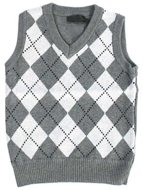 Boys Grey Diamond Sweater Vest