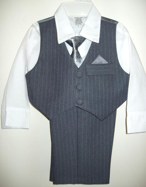 Boys Grey Pinstripe Vest Suit