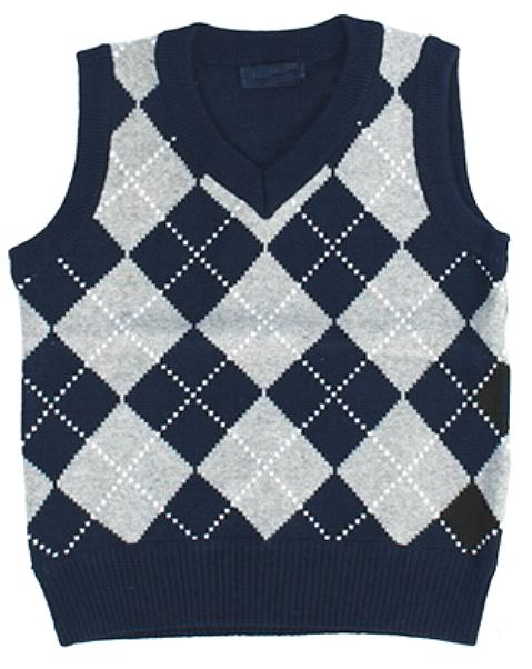 Boys Navy Blue Diamond Sweater Vest
