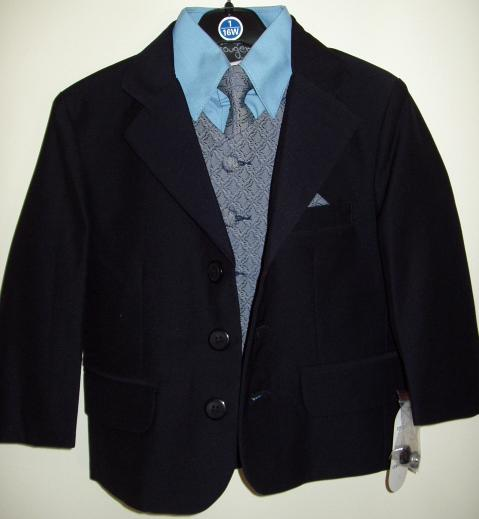 Big Boys Navy Blue Suit with Blue Vest