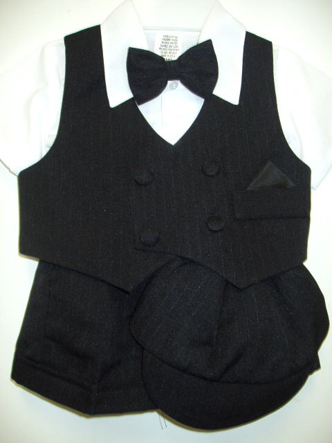 Baby Boys Black Pinstripe Short Suits