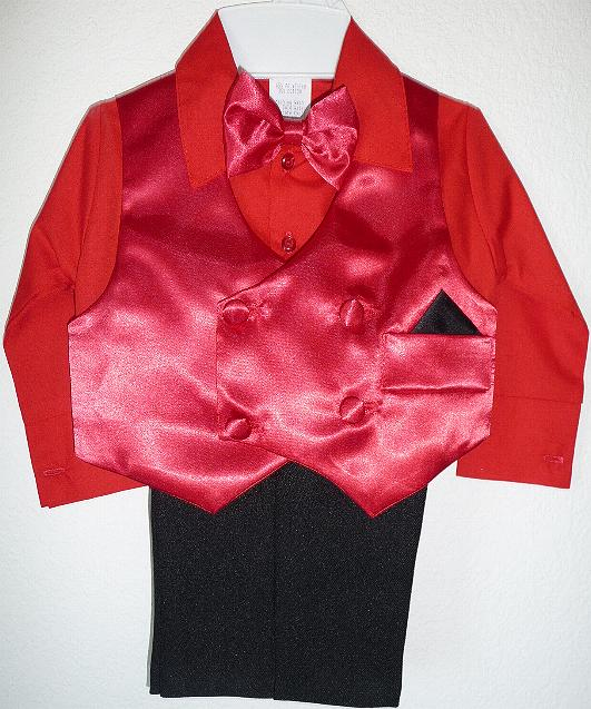 Red Satin Vest Suit