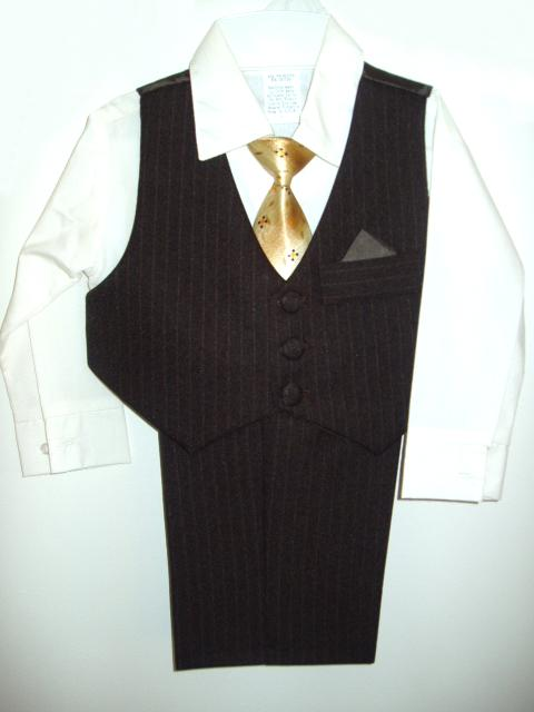 Toddler Boy Brown Vest Suit