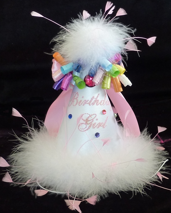 White Feathered Birthday Hat