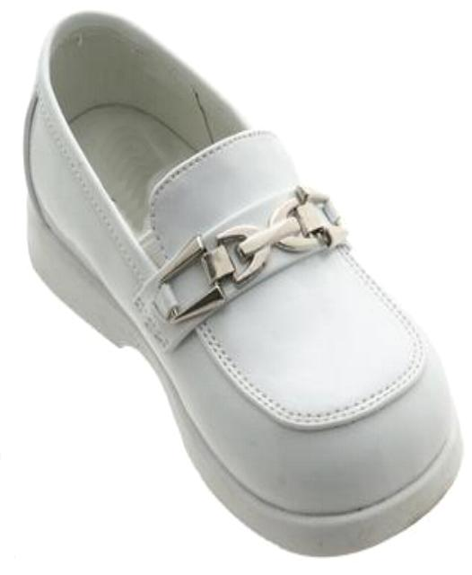 Boys White Buckle Dress Shoes