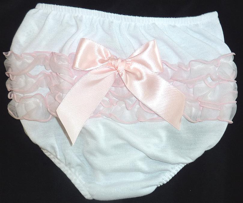 White and Pink Diaper Cover