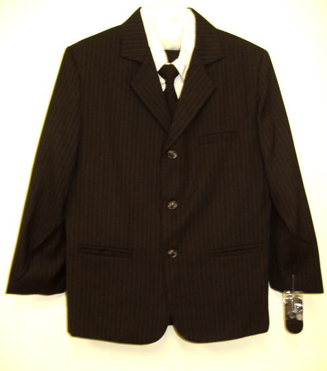 Young Mens Black Pinstripe Suit