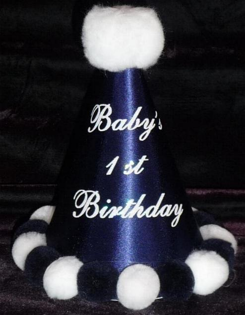 Navy Blue First Birthday Hat