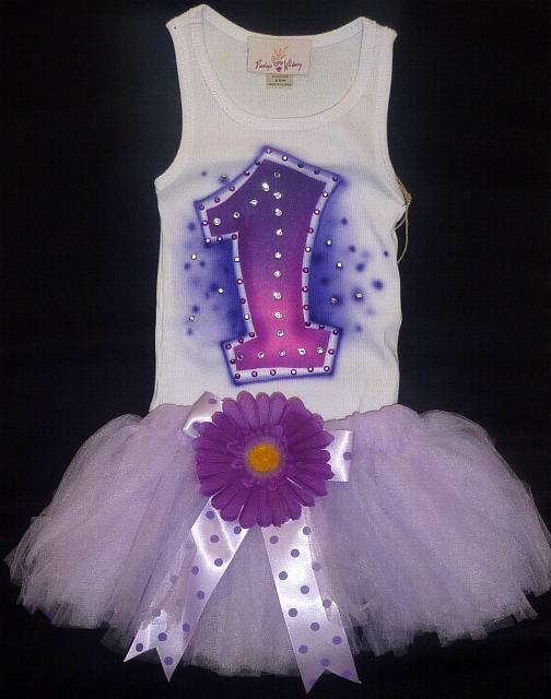 Purple First Birthday Tutu Set