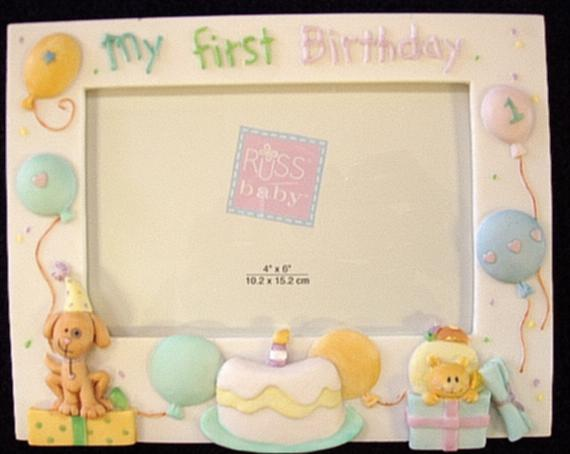 White First Birthday Picture Frame